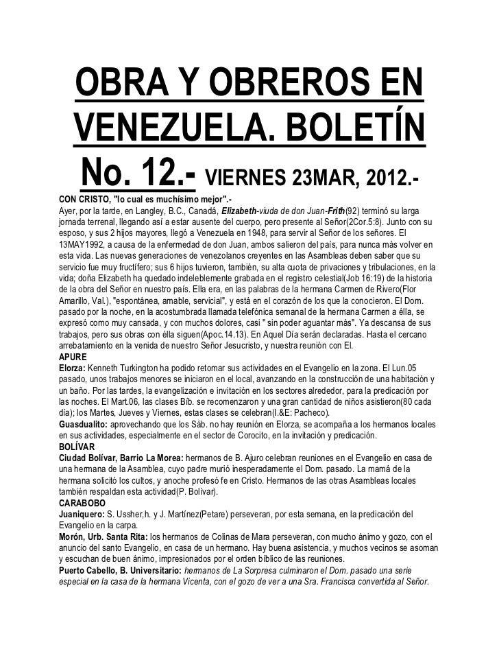 """OBRA Y OBREROS EN    VENEZUELA. BOLETÍN    No. 12.- VIERNES 23MAR, 2012.-CON CRISTO, """"lo cual es muchísimo mejor"""".-Ayer, p..."""