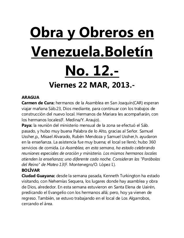 Obra y Obreros en    Venezuela.Boletín        No. 12.-              Viernes 22 MAR, 2013.-ARAGUACarmen de Cura: hermanos d...