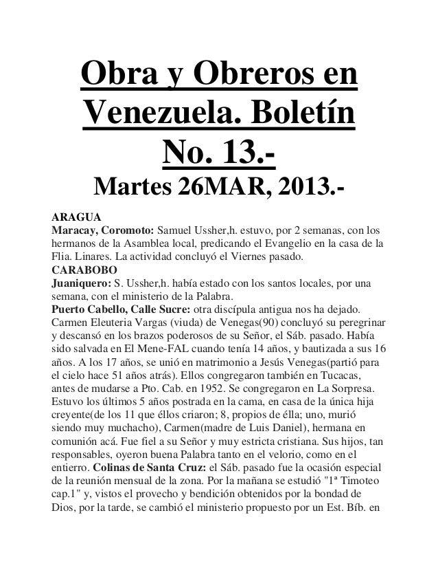 Obra y Obreros en      Venezuela. Boletín          No. 13.-         Martes 26MAR, 2013.-ARAGUAMaracay, Coromoto: Samuel Us...