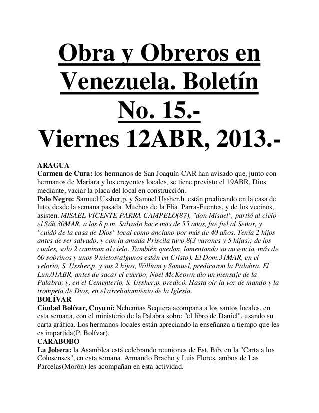 Obra y Obreros en  Venezuela. Boletín       No. 15.-Viernes 12ABR, 2013.-ARAGUACarmen de Cura: los hermanos de San Joaquín...