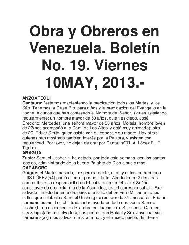 """Obra y Obreros enVenezuela. BoletínNo. 19. Viernes10MAY, 2013.-ANZOÁTEGUICantaura: """"estamos manteniendo la predicación tod..."""