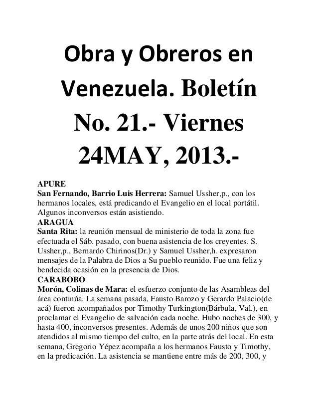 Obra y Obreros enVenezuela. BoletínNo. 21.- Viernes24MAY, 2013.-APURESan Fernando, Barrio Luis Herrera: Samuel Ussher,p., ...