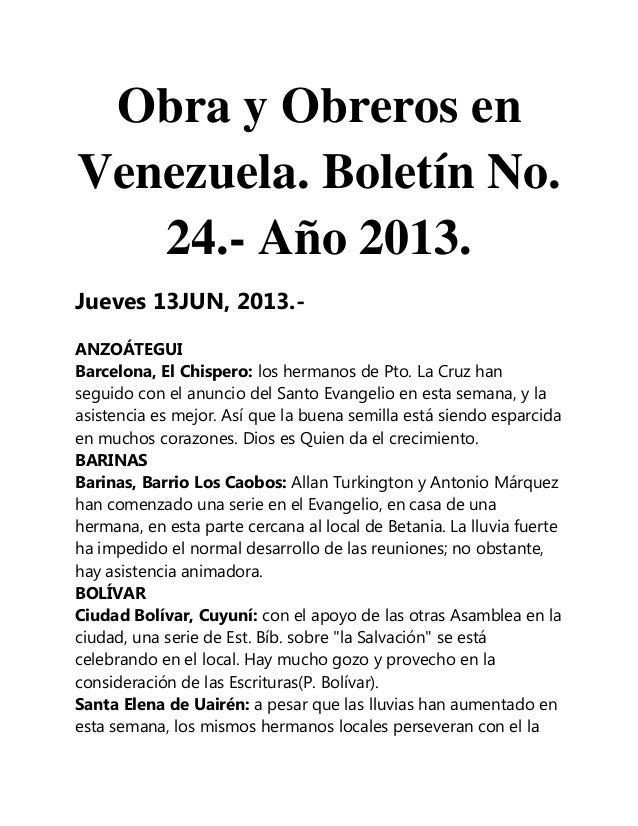 Obra y Obreros enVenezuela. Boletín No.24.- Año 2013.Jueves 13JUN, 2013.-ANZOÁTEGUIBarcelona, El Chispero: los hermanos de...