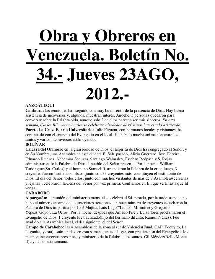 Obra y Obreros enVenezuela. Boletín No. 34.- Jueves 23AGO,        2012.-ANZOÁTEGUICantaura: las reuniones han seguido con ...