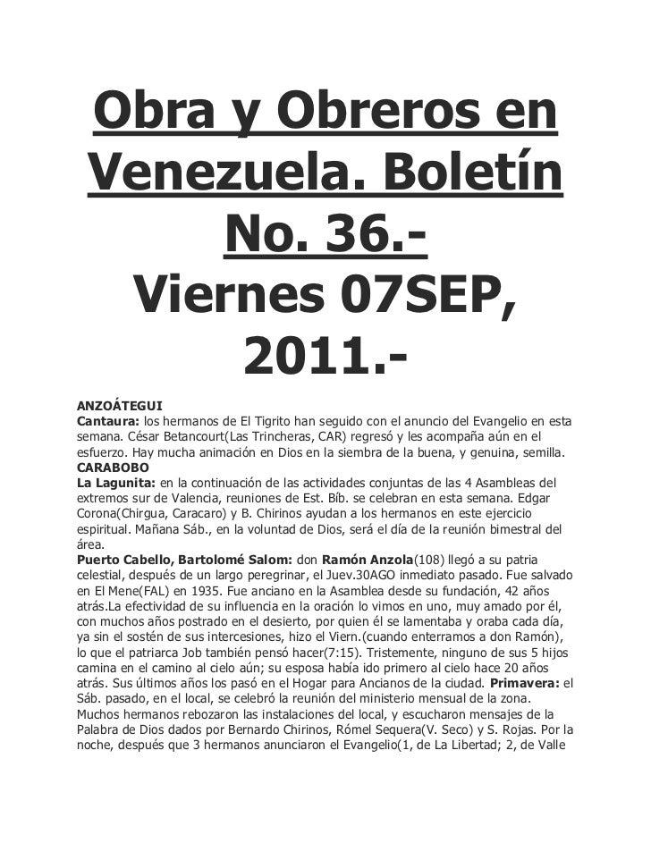 Obra y Obreros en Venezuela. Boletín     No. 36.-  Viernes 07SEP,      2011.-ANZOÁTEGUICantaura: los hermanos de El Tigrit...
