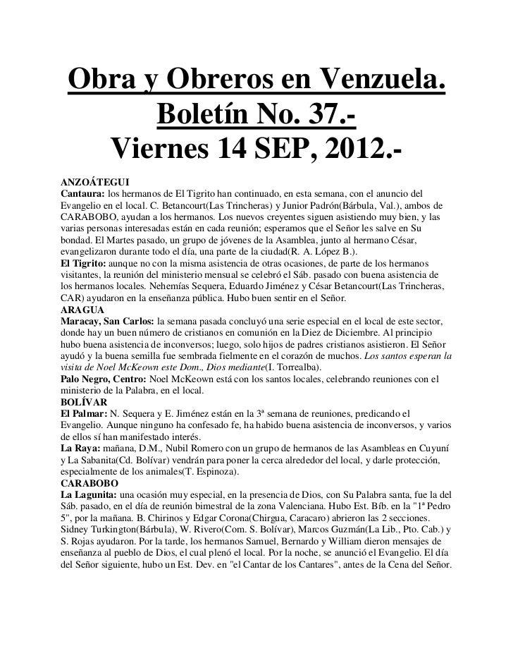 Obra y Obreros en Venzuela.       Boletín No. 37.-   Viernes 14 SEP, 2012.-ANZOÁTEGUICantaura: los hermanos de El Tigrito ...
