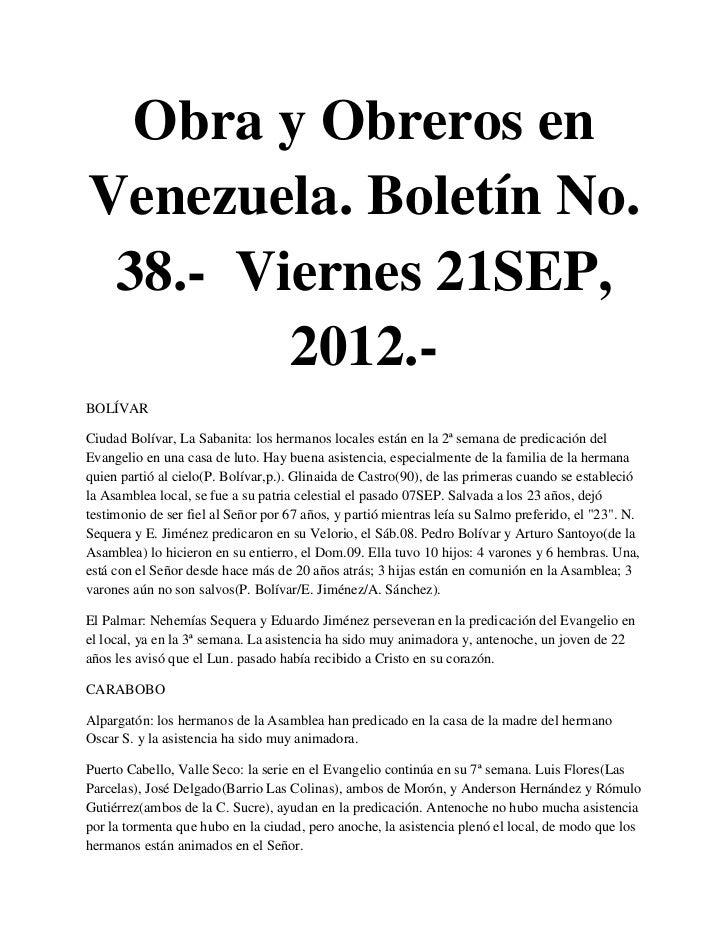 Obra y Obreros enVenezuela. Boletín No. 38.- Viernes 21SEP,        2012.-BOLÍVARCiudad Bolívar, La Sabanita: los hermanos ...