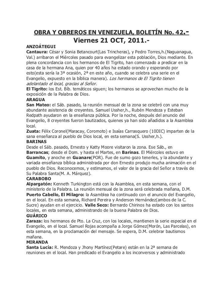 OBRA Y OBREROS EN VENEZUELA, BOLETÍN No. 42.-                         Viernes 21 OCT, 2011.-ANZOÁTEGUICantaura: César y So...