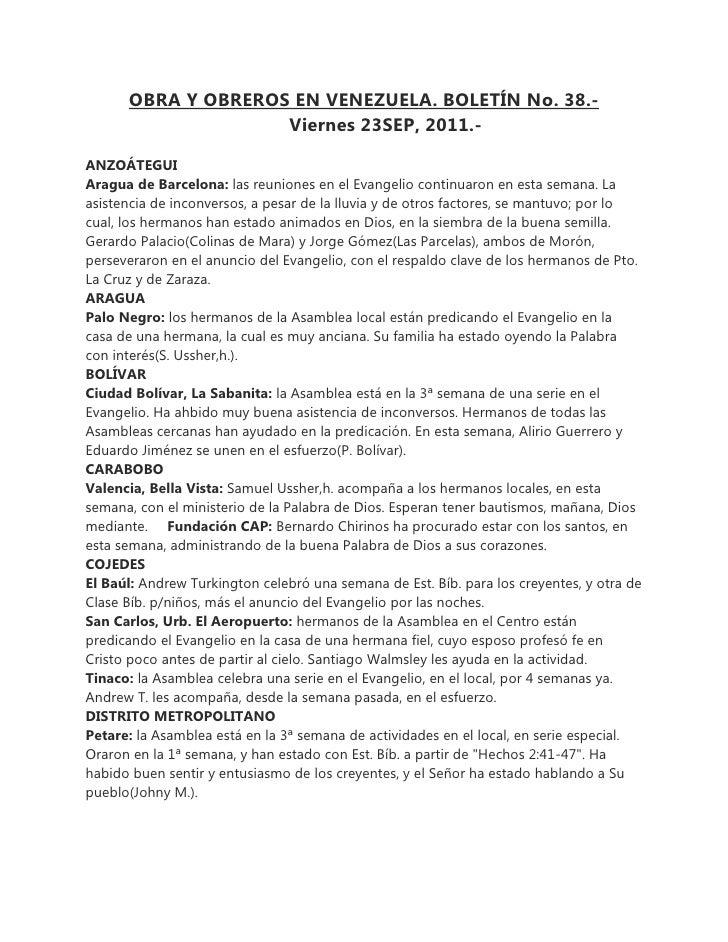 OBRA Y OBREROS EN VENEZUELA. BOLETÍN No. 38.-                    Viernes 23SEP, 2011.-ANZOÁTEGUIAragua de Barcelona: las r...