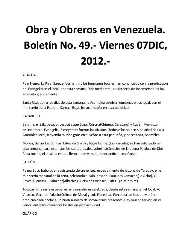Obra y Obreros en Venezuela.Boletín No. 49.- Viernes 07DIC,            2012.-ARAGUAPalo Negro, La Pica: Samuel Ussher,h. y...