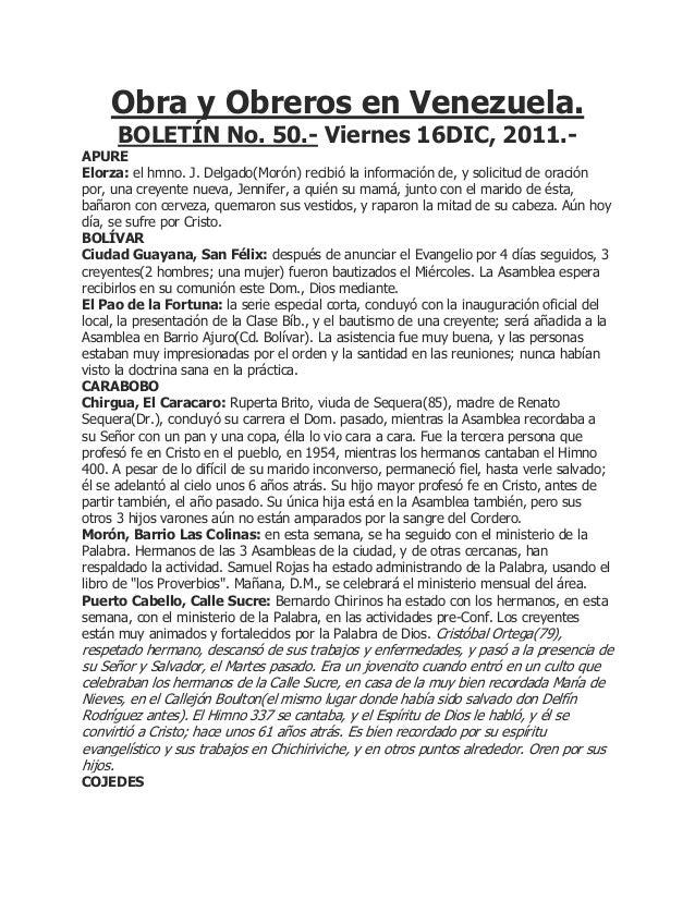 Obra y Obreros en Venezuela.      BOLETÍN No. 50.- Viernes 16DIC, 2011.-APUREElorza: el hmno. J. Delgado(Morón) recibió la...