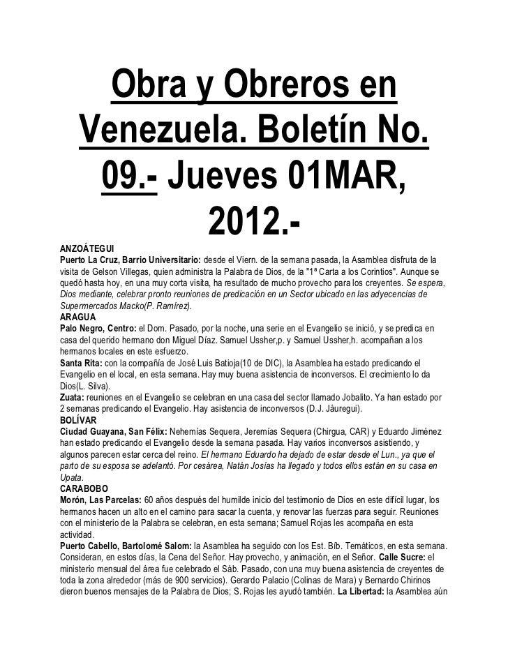 Obra y Obreros en     Venezuela. Boletín No.      09.- Jueves 01MAR,ANZOÁTEGUI             2012.-Puerto La Cruz, Barrio Un...