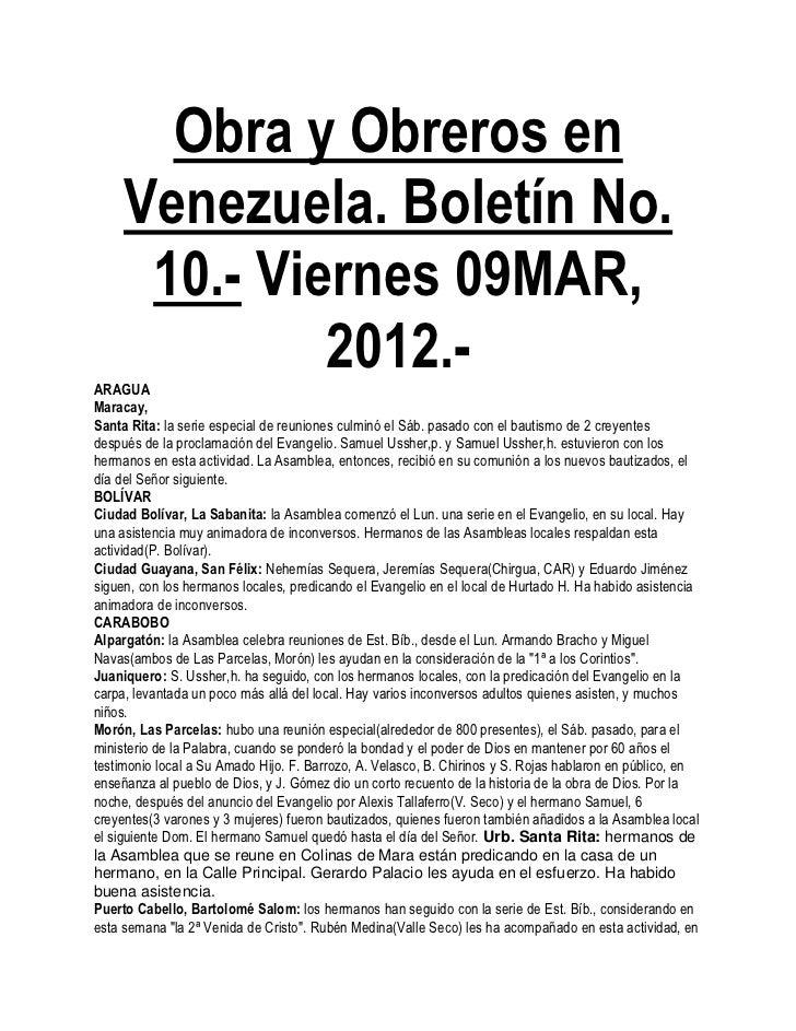 Obra y Obreros en     Venezuela. Boletín No.      10.- Viernes 09MAR,ARAGUA              2012.-Maracay,Santa Rita: la seri...