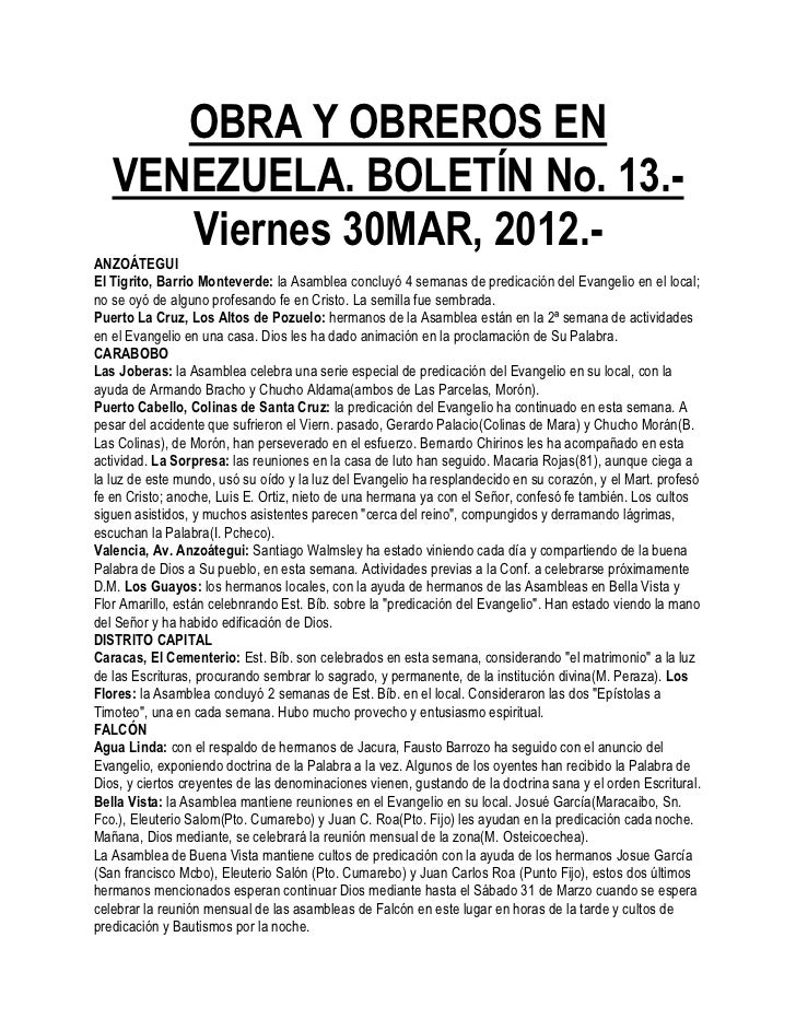 OBRA Y OBREROS EN   VENEZUELA. BOLETÍN No. 13.-      Viernes 30MAR, 2012.-ANZOÁTEGUIEl Tigrito, Barrio Monteverde: la Asam...