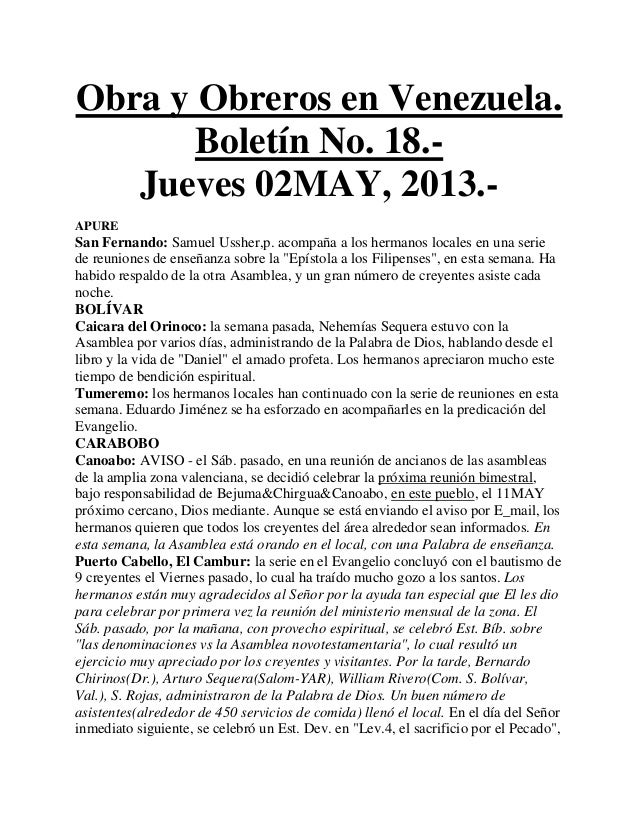 Obra y Obreros en Venezuela.Boletín No. 18.-Jueves 02MAY, 2013.-APURESan Fernando: Samuel Ussher,p. acompaña a los hermano...