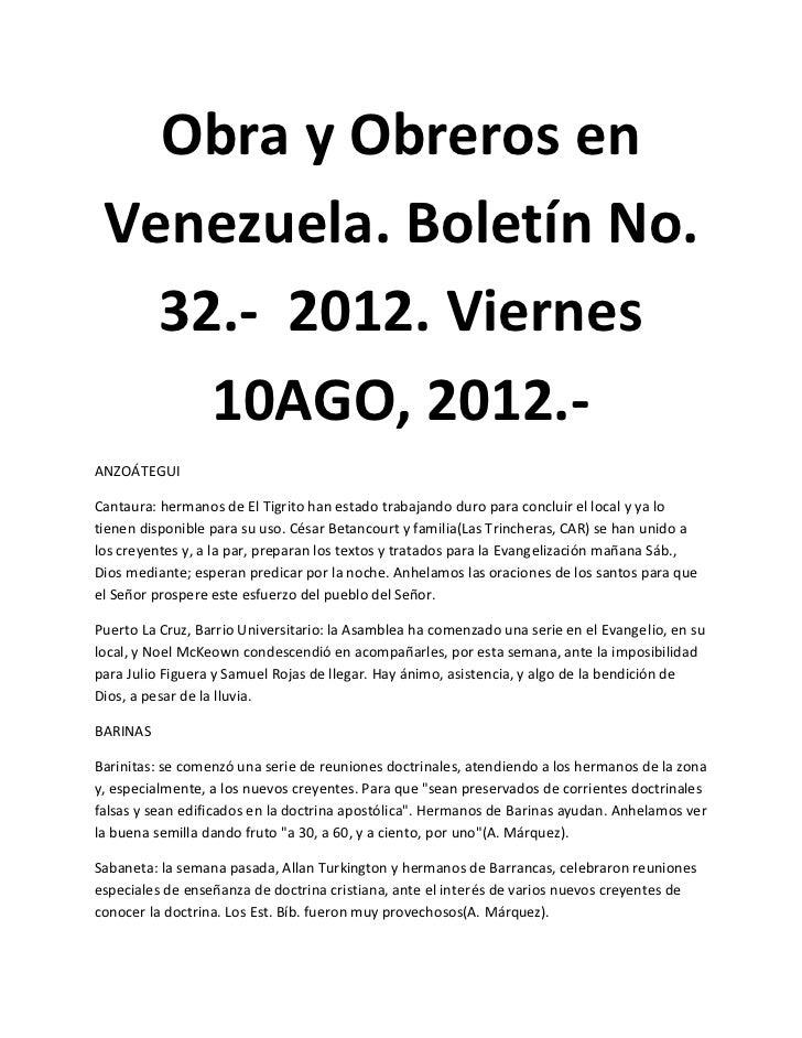 Obra y Obreros en Venezuela. Boletín No.   32.- 2012. Viernes     10AGO, 2012.-ANZOÁTEGUICantaura: hermanos de El Tigrito ...