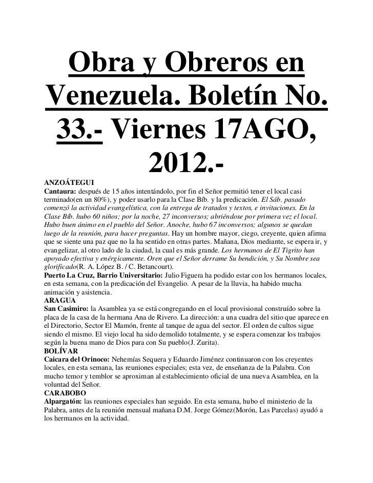 Obra y Obreros enVenezuela. Boletín No. 33.- Viernes 17AGO,         2012.-ANZOÁTEGUICantaura: después de 15 años intentánd...
