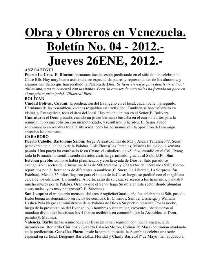 Obra y Obreros en Venezuela.   Boletín No. 04 - 2012.-   Jueves 26ENE, 2012.-ANZOÁTEGUIPuerto La Cruz, El Rincón: hermanos...