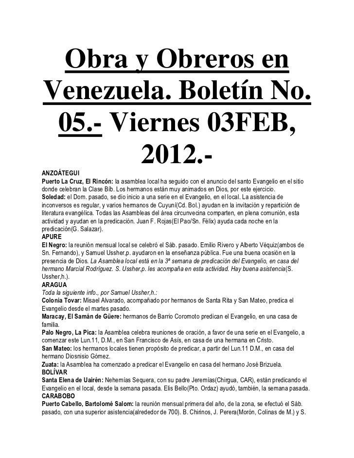 Obra y Obreros enVenezuela. Boletín No. 05.- Viernes 03FEB,        2012.-ANZOÁTEGUIPuerto La Cruz, El Rincón: la asamblea ...