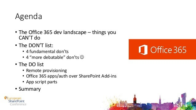 Do'S And Don'Ts For Office 365 Development