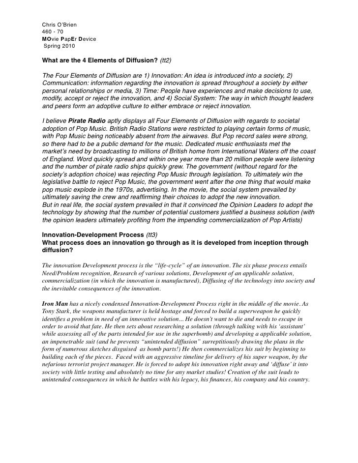 Chris O'Brien 460 - 70 MOvie PapEr Device  Spring 2010  What are the 4 Elements of Diffusion? (tt2)  The Four Elements of ...