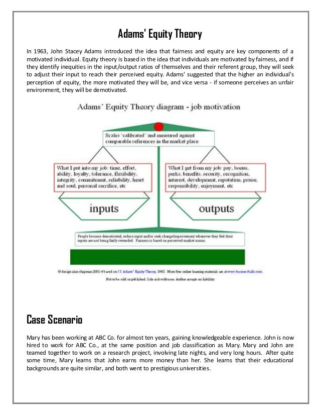 adams equity theory of motivation essay Question theories of motivation explain how the concepts from locke's goal setting theory can be incorporated into vroom's expectancy theory explain how the concepts in adams' equity.