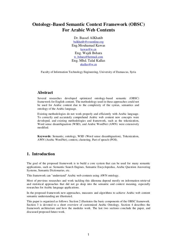 Ontology-Based Semantic Context Framework (OBSC)                 For Arabic Web Contents                                  ...