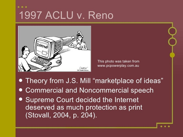 reno v aclu Summary of reno vs aclu facts: several plaintiffs challenged the constitutional validity of two provisions of the 1996 communications decency act, which were implemented to safeguard minors from objectionable material.