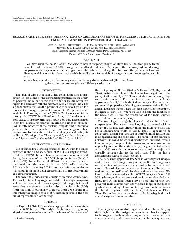 THE ASTROPHYSICAL JOURNAL, 465 : L5–L8, 1996 July 1᭧ 1996. The American Astronomical Society. All rights reserved. Printed...