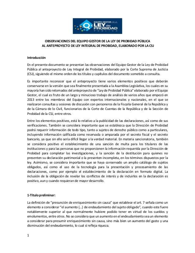 1 OBSERVACIONES DEL EQUIPO GESTOR DE LA LEY DE PROBIDAD PÚBLICA AL ANTEPROYECTO DE LEY INTEGRAL DE PROBIDAD, ELABORADO POR...