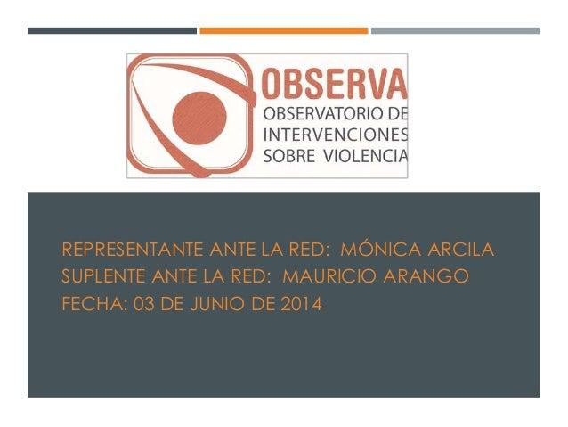 REPRESENTANTE ANTE LA RED: MÓNICA ARCILA SUPLENTE ANTE LA RED: MAURICIO ARANGO FECHA: 03 DE JUNIO DE 2014