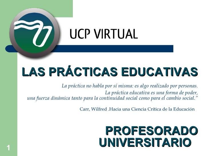 LAS PRÁCTICAS EDUCATIVAS   La práctica no habla por sí misma: es algo realizado por personas. La práctica educativa es una...