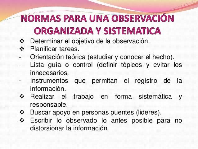  Determinar el objetivo de la observación.  Planificar tareas. - Orientación teórica (estudiar y conocer el hecho). - Li...