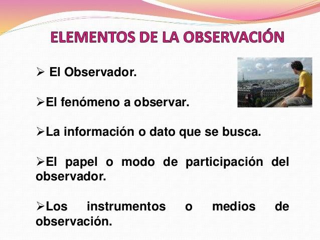  El Observador. El fenómeno a observar. La información o dato que se busca. El papel o modo de participación del obser...