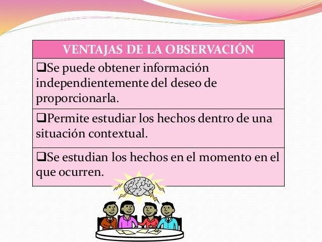 VENTAJAS DE LA OBSERVACIÓN Se puede obtener información independientemente del deseo de proporcionarla. Permite estudiar...