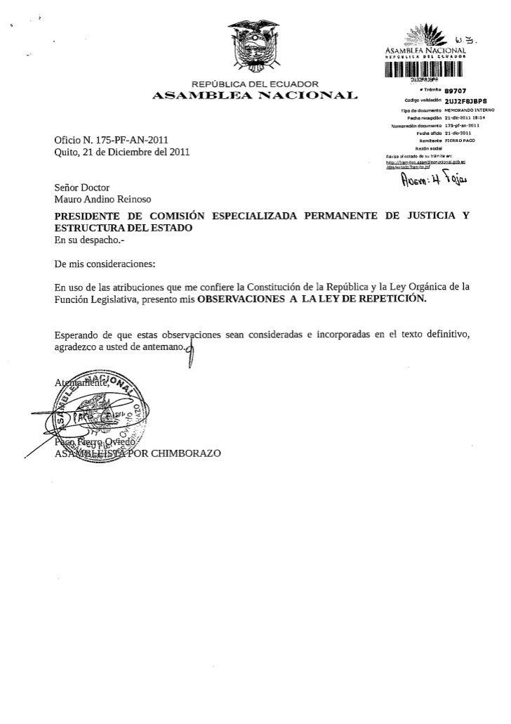 Observaciones  Ley de Repetición ASambleísta Fierro