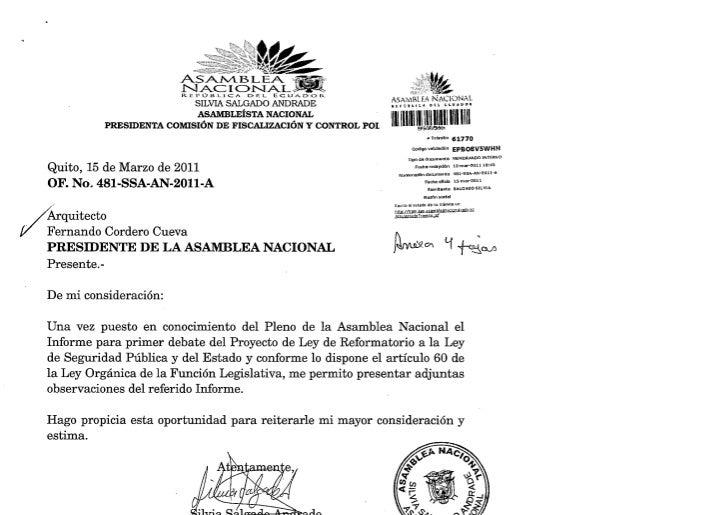 OBSERVACIONES AL INFORME PARA PRIMER DEBATE A LA LEY DE SEGURIDAD PUBLICA Y DEL ESTADO