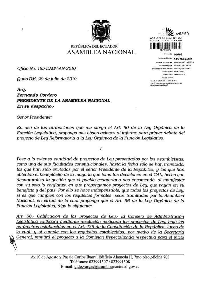 Observaciones al informe para primer debate del proyecto de ley reformatoria a la ley organica de la funcion legislativa