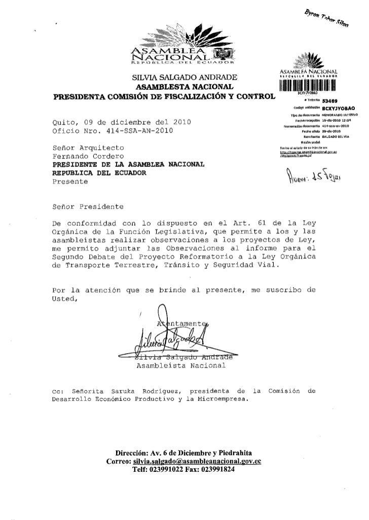 OBSERVACIONES AL INFORME SEGUNDO DEBATE PROYECTO LEY REFORMATORIO LEY ORGANICA DE TRANSPORTE TERRESTRE Y SEGURIDAD VIAL