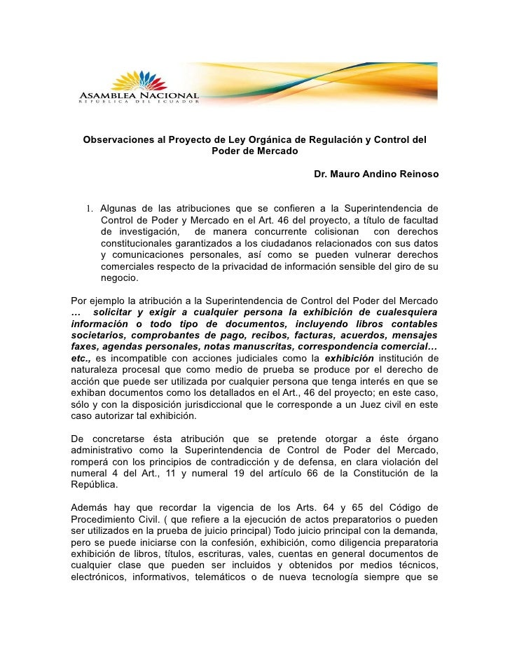 Observaciones al Proyecto de Ley Orgánica de Regulación y Control del                           Poder de Mercado          ...