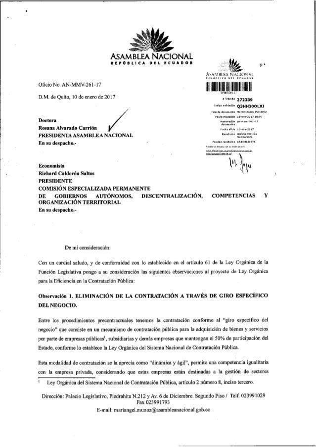 Observaciones al proyecto de Ley Orgánica para la Eficiencia en la Contratacón Pública