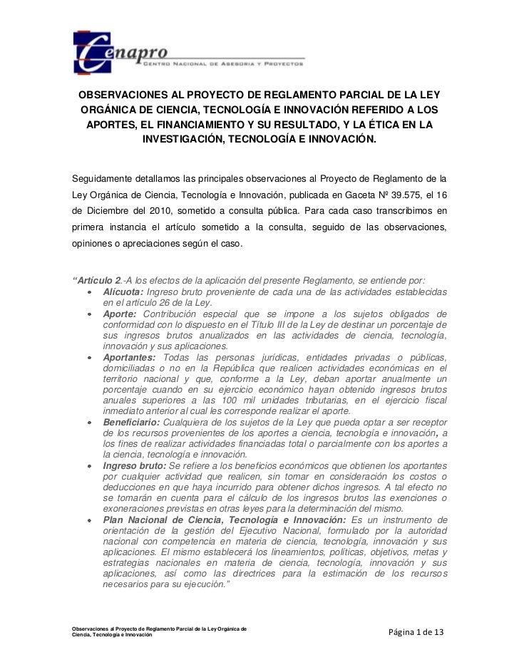 OBSERVACIONES AL PROYECTO DE REGLAMENTO PARCIAL DE LA LEY  ORGÁNICA DE CIENCIA, TECNOLOGÍA E INNOVACIÓN REFERIDO A LOS   A...