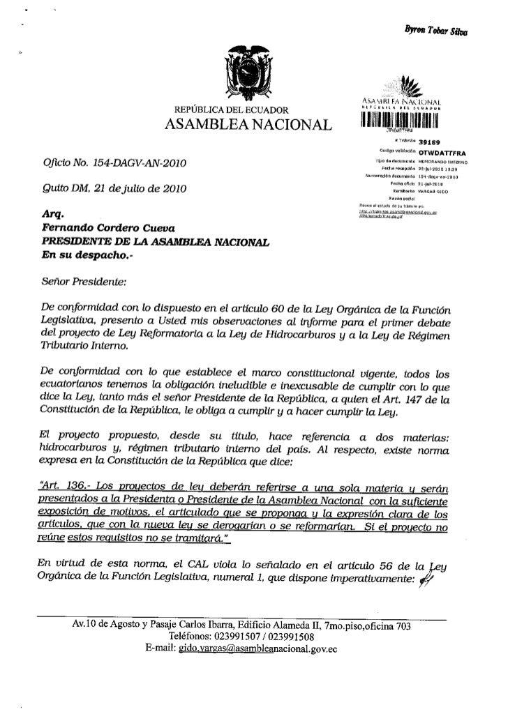 Observaciones informe primer debate proyecto ley reformatoria ley de hidrocarburos y ley de regimen tributario interno