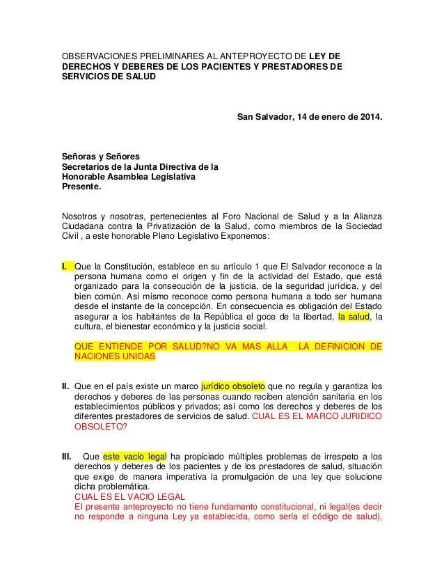 OBSERVACIONES PRELIMINARES AL ANTEPROYECTO DE LEY DE DERECHOS Y DEBERES DE LOS PACIENTES Y PRESTADORES DE SERVICIOS DE SAL...
