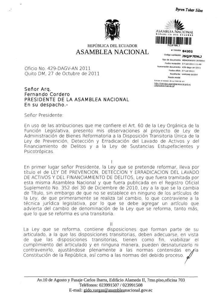 Observaciones proyecto ley administracion de bienes, reformatoria a disposicion transitoria unica ley prevencion, deteccio...
