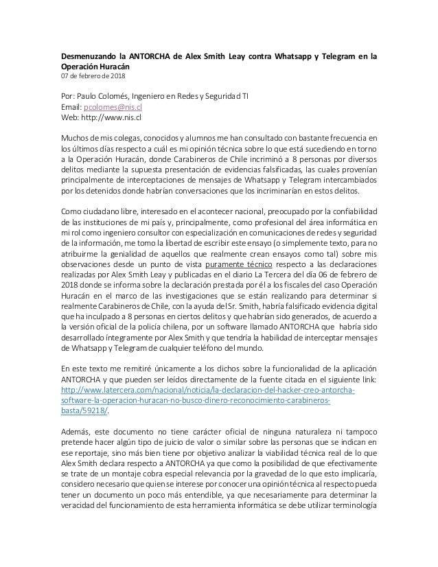Desmenuzando la ANTORCHA de Alex Smith Leay contra Whatsapp y Telegram en la Operación Huracán 07 de febrero de 2018 Por: ...