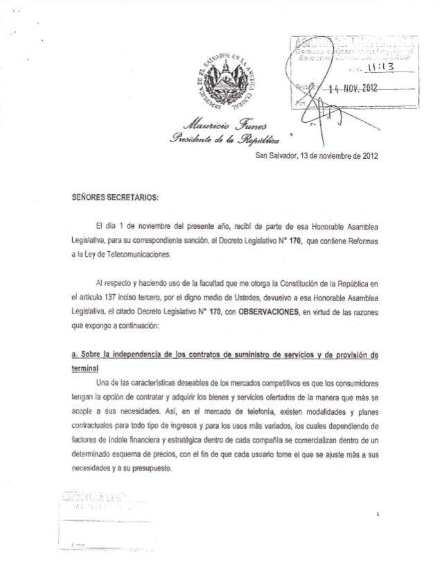 Observaciones de la presidencia de la República a las reformas a la Ley de Telecomunicaciones