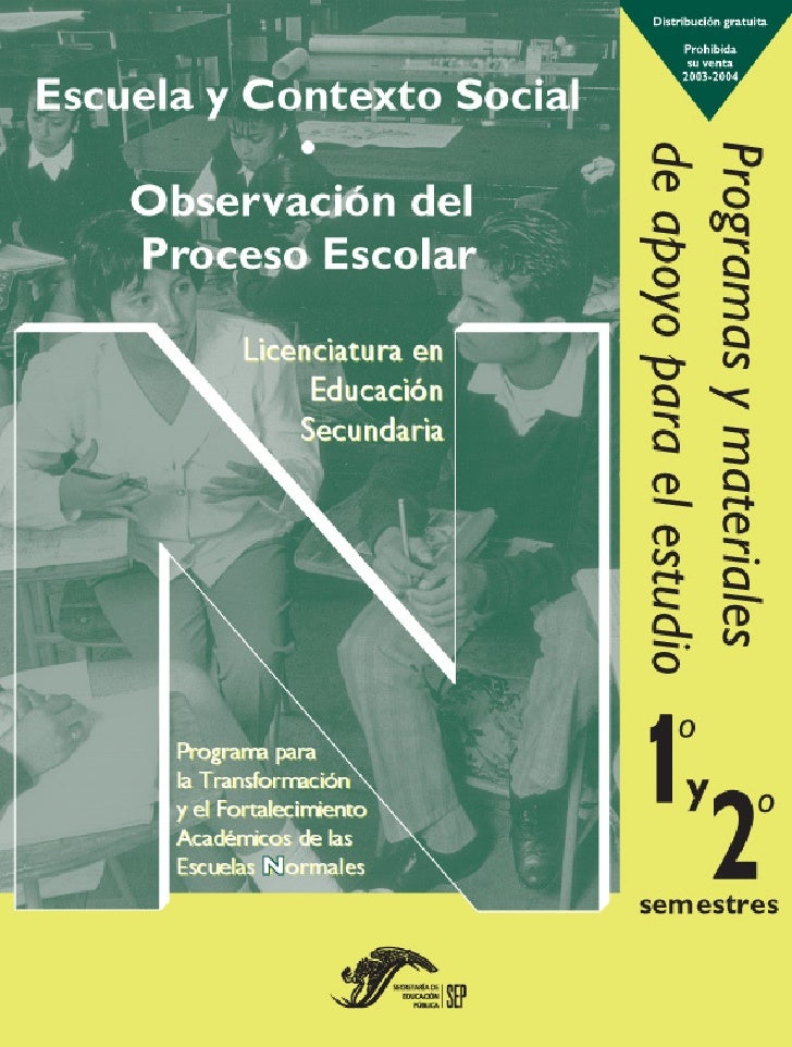 Observación delProceso Escolar Horas/semana: 6   Créditos: 10.5