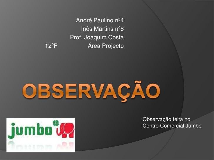André Paulino nº4<br />Inês Martins nº8<br />Prof. Joaquim Costa <br />12ºFÁrea Projecto<br />Observação<br />Observação...