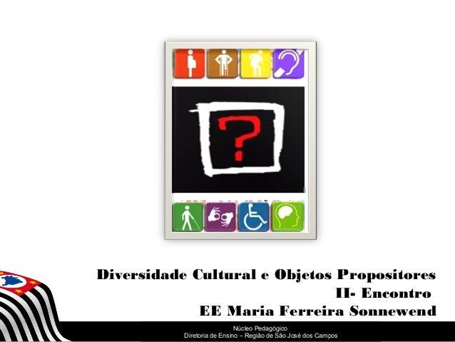 Diversidade Cultural e Objetos Propositores  SECRETARIA DA EDUCAÇÃO  Núcleo Pedagógico  Diretoria Coordenadoria de Ensino ...